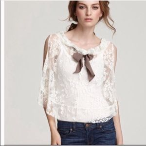 Free People Fly Away Lace Bow Top